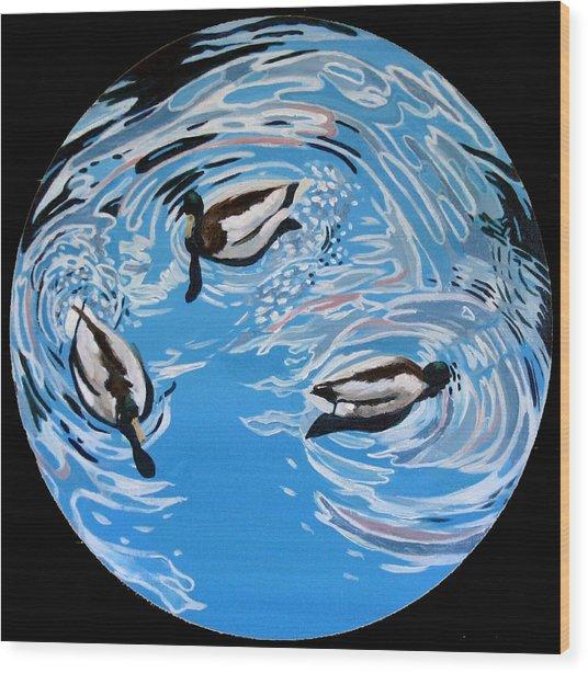 Three Ducks Wood Print by Art Nomad Sandra  Hansen