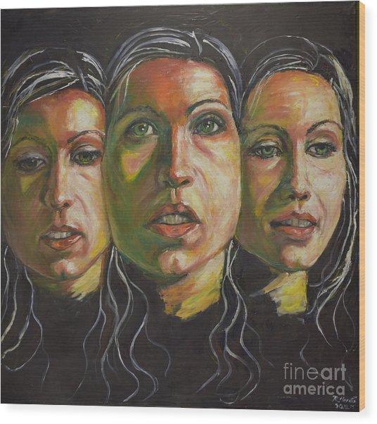 Three Faces 1 Wood Print