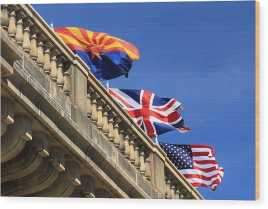 Three Flags At London Bridge Wood Print