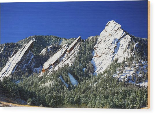 Three Flatirons Wood Print