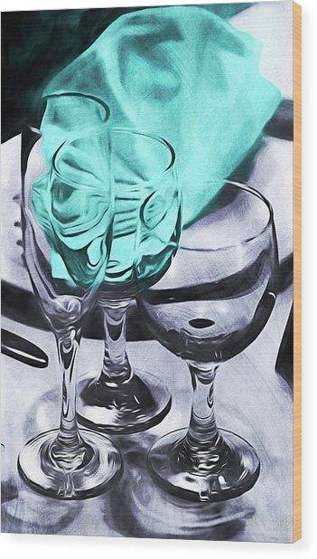 Three Glass Illusion Wood Print