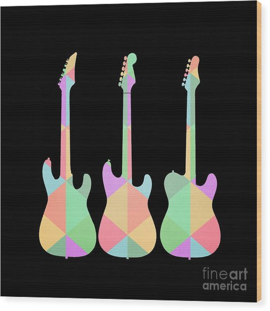 Three Guitars Triangles Tee Wood Print