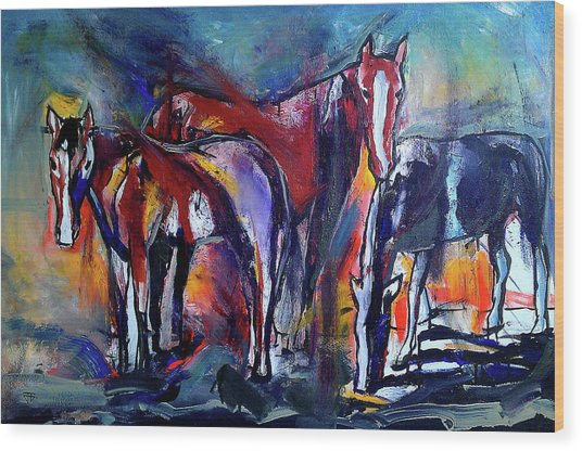 Three Horses Wood Print