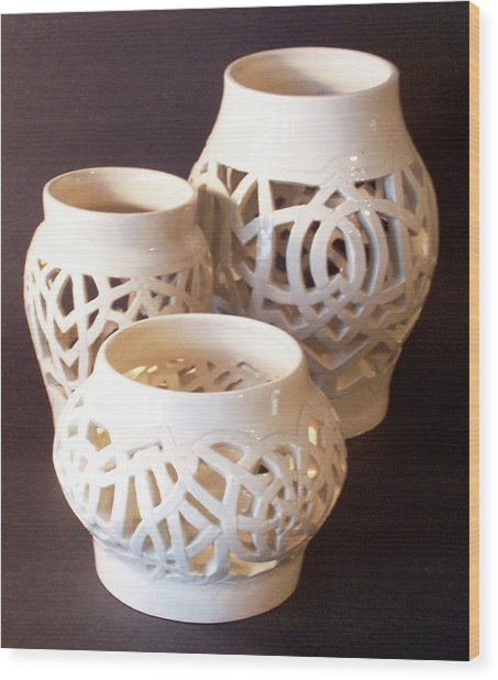 Three Interlaced Design Wheel Thrown Pots Wood Print