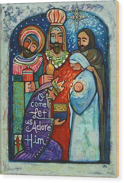 Three Kings O Come Let Us Adore Him Wood Print