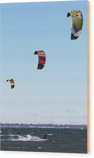 Three Kites Wood Print
