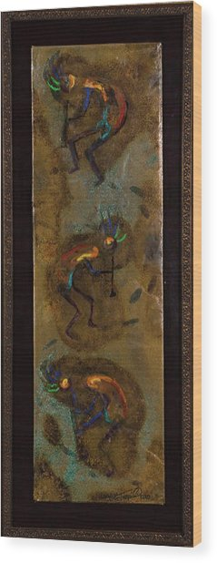 Three Kokopelli Wood Print
