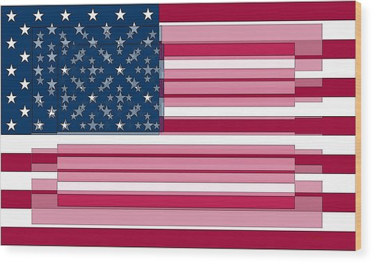 Wood Print featuring the digital art Three Layered Flag by David Bridburg