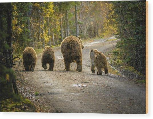 Three Little Bears And Mama Wood Print