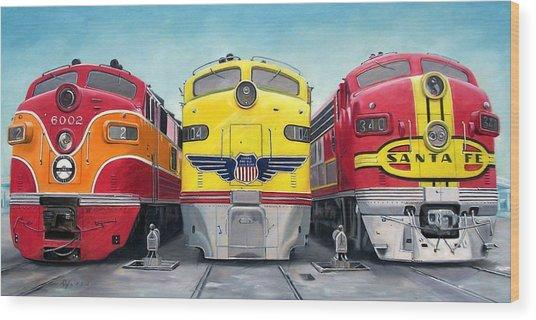Three Locomotives Wood Print