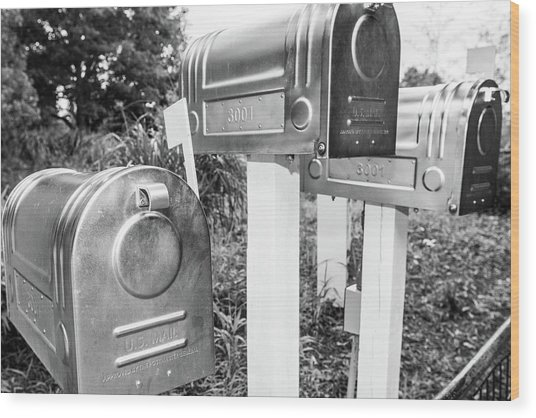Three Mailboxes Wood Print