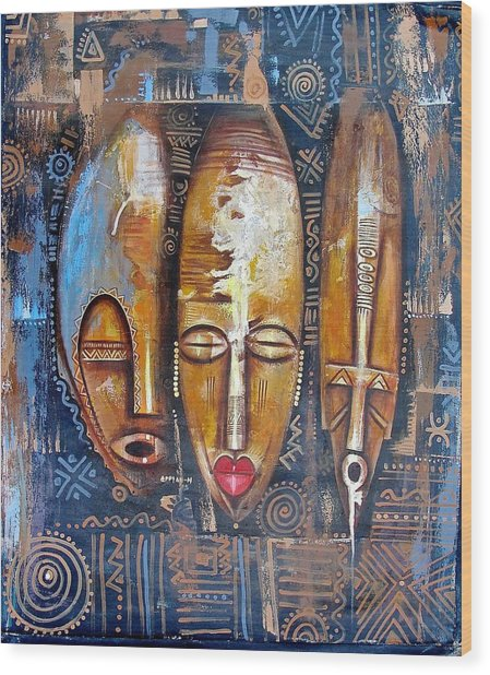 Three Masks Wood Print