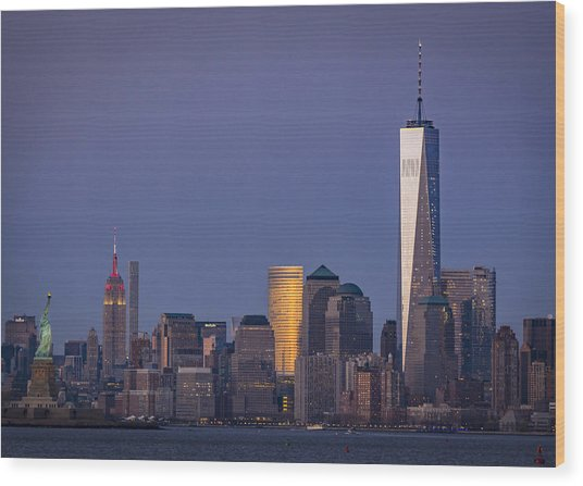 Three New York Symbols Wood Print