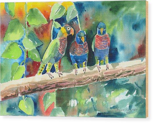 Three On A Branch Wood Print