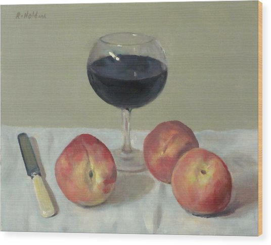 Three Peaches, Wine And Knife Wood Print
