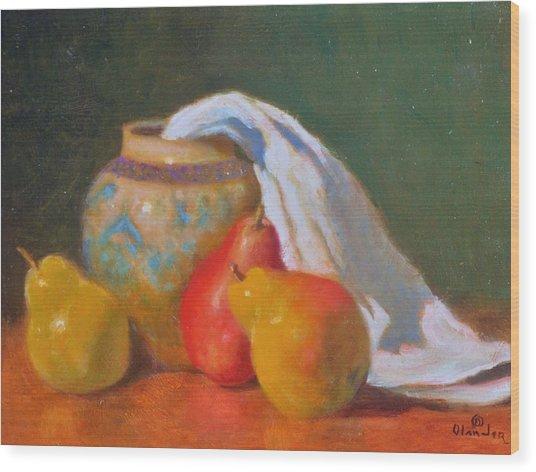 Three Pears With Persian Vase Wood Print by David Olander