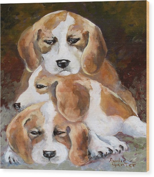 Three Puppies Wood Print by Audie Yenter