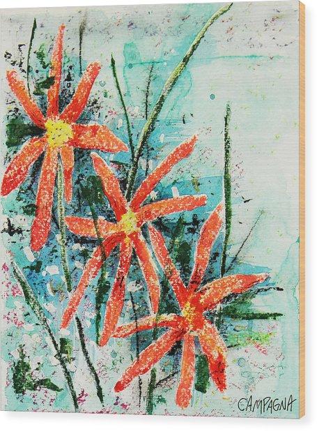 Three Red Flowers Wood Print