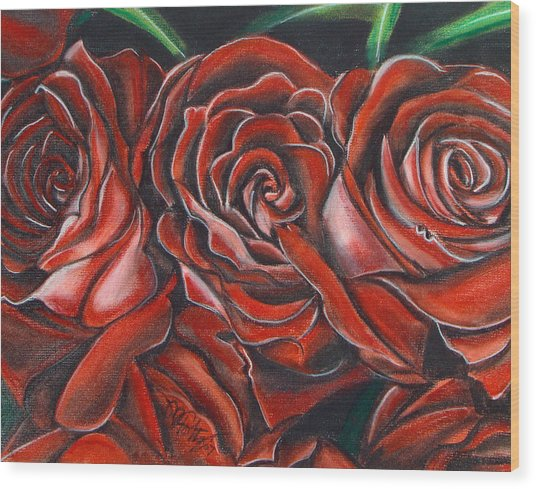 Three Rose Wood Print
