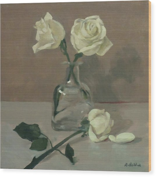 Three Roses In A Tequila Bottle Wood Print
