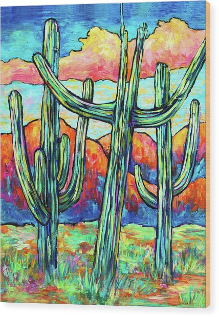 Three Saguaros Wood Print