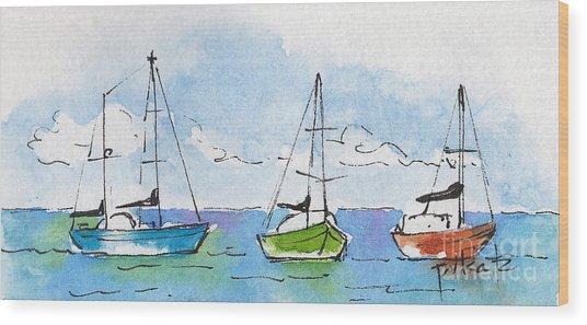 Three Sailboats Near Tahiti Wood Print