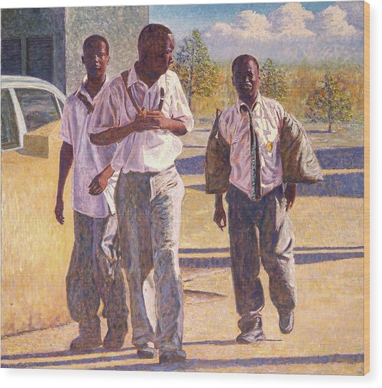 Three School Boys Wood Print