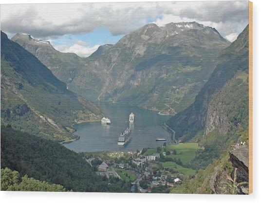Three Ships At Geiranger Fjord Wood Print by Deni Dismachek