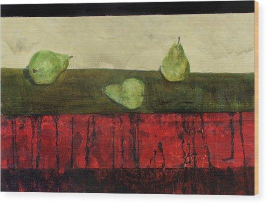 Three Sides Of Pears Wood Print by Ellen Beauregard