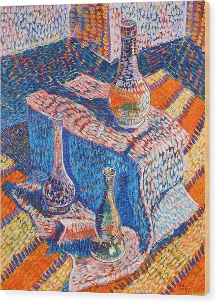 Three Simple Vases Wood Print by Rollin Kocsis