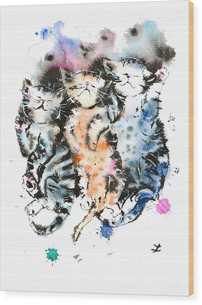 Three Sleeping Kittens Wood Print