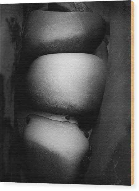Three Stones Wood Print by Joseph Smith