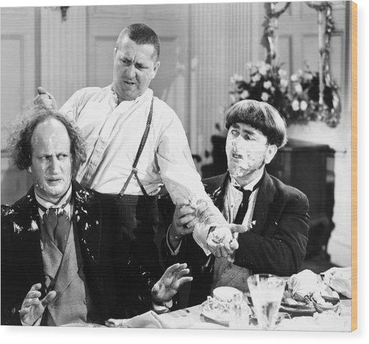Three Stooges: Film Still Wood Print
