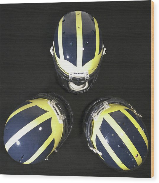 Three Striped Wolverine Helmets Wood Print