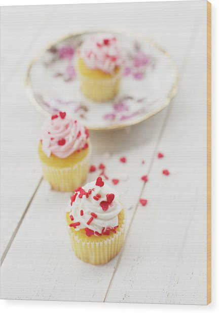 Three Tiny Cupcakes Wood Print