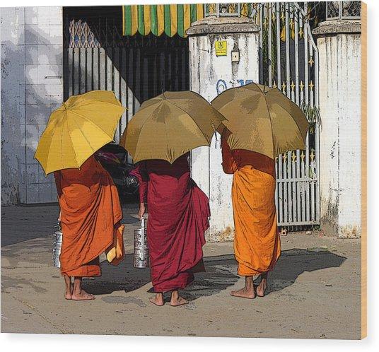 Three Umbrellas Wood Print