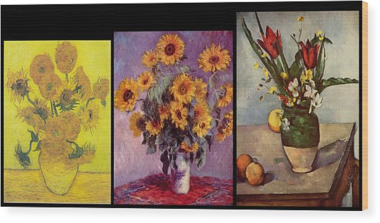 Wood Print featuring the digital art Three Vases Van Gogh - Monet - Cezanne by David Bridburg
