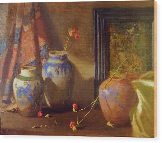 Three Vases With Impressionist Painting In Background Wood Print by David Olander