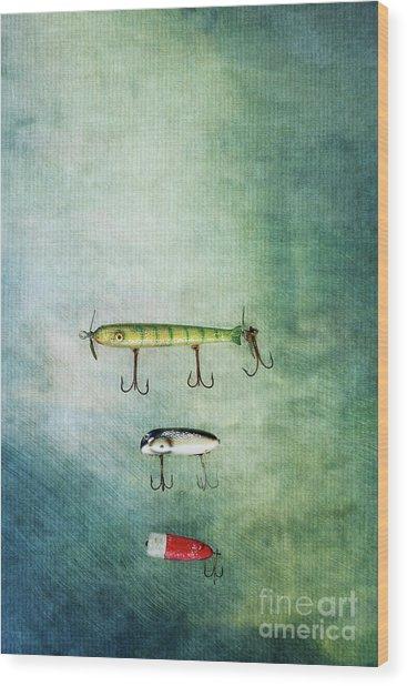 Three Vintage Fishing Lures Wood Print