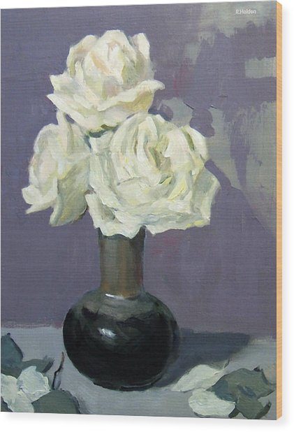 Three White Roses,abstract Background Wood Print