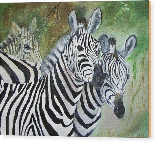 Three Z Puzzle Wood Print by Lynda McDonald