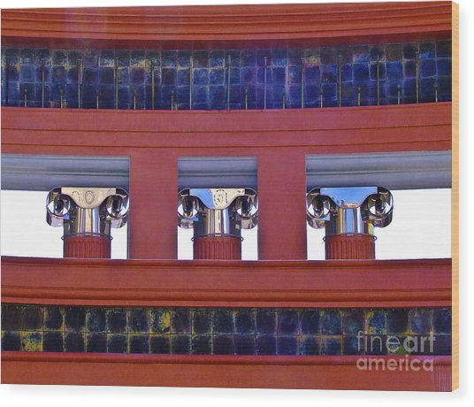 Threereflective Columns Wood Print