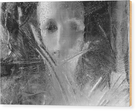 Through A Wintry Window Gaze... Thee Or Me? Wood Print