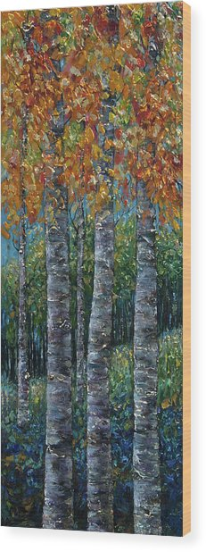Through The Aspen Trees Diptych 2 Wood Print
