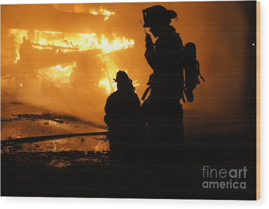 Through The Flames Wood Print