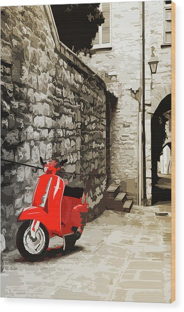 Through The Streets Of Italy - 01 Wood Print by Andrea Mazzocchetti