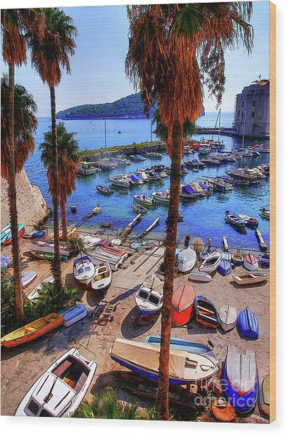 Through The Trees Dubrovnik Harbour Wood Print