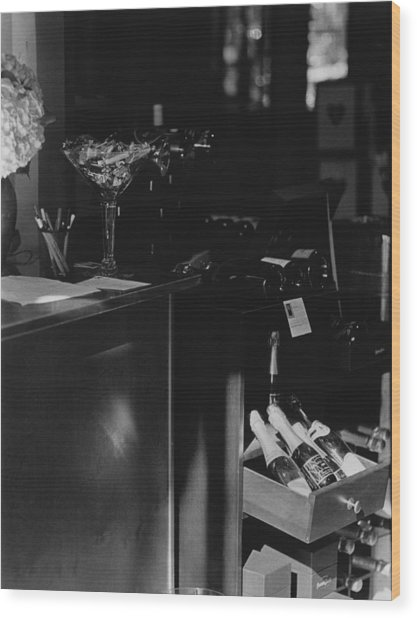 Through The Wine Shop Window Wood Print by Jim Furrer