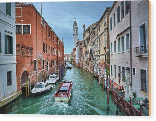 Through Venetian Canals Wood Print