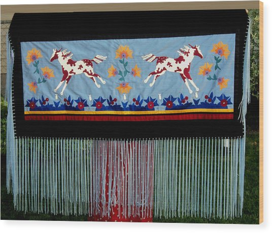 Wood Print featuring the tapestry - textile Thunder Pony by Chholing Taha